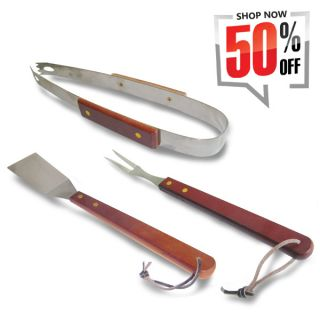 3pcs BBQ Grill Set with Long Wood Handle